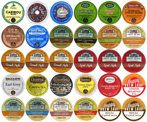 30-count-TOP-BRAND-COFFEE-TEA-CIDER-HOT-COCOA-and-CAPPUCCINO-K-Cup-Variety-Sampler-Pack-Single-Serve-Cups-for-Keurig-Brewers-0