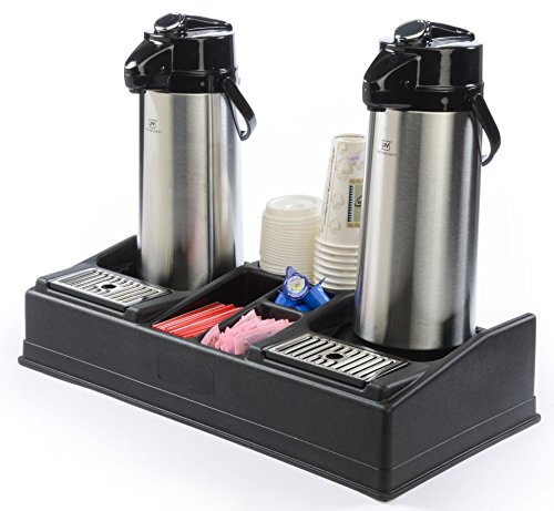 Airpot-Stand-Holder-for-2-Dispensers-Drip-Trays-Also-Holds-Cups-Lids-Accessories-0-0