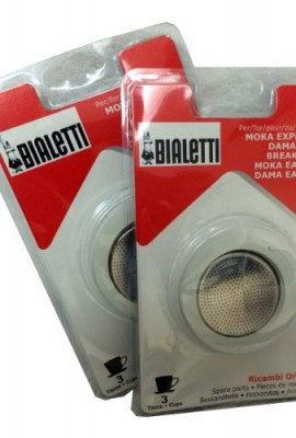 Bialetti-2-Packs-of-06960-total-of-SIX-replacement-gaskets-and-TWO-Bialetti-replacement-filter-plates-For-3-CUP-Bialetti-Moka-Express-Dama-Break-Moka-Easy-Dama-Easy-0