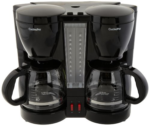 2 Pot Coffee Maker Home : Coffee Consumers CucinaPro 9910 Double Coffee Brew Station, Black