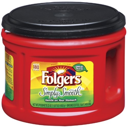Folgers One Cup Coffee Maker : Coffee Consumers Folgers Simply Smooth Coffee, 23 Ounce (Pack of 6)