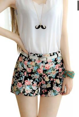 Imixcity-Womens-Floral-Elastic-High-Waist-Pants-Shorts-Mini-Trouser-Short-Pants-0