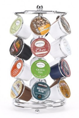 K-cup-Coffee-Pod-Storage-spinning-Carousel-Holder-24-ct-Chrome-0