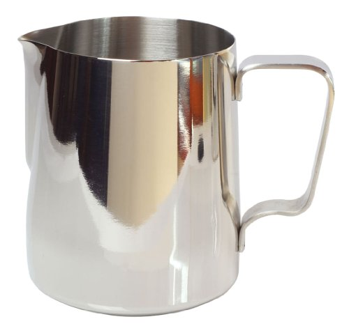 KobwaTM-Silver-Stainless-Steel-Milk-Frothing-Pitcher-Thicken-Japanese-Stype350ml-With-Kobwas-Keyring-0