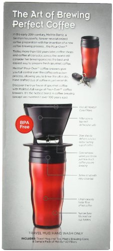 Coffee Consumers Melitta Coffee Maker, Single Cup Pour-Over Brewer with Travel Mug, Red (Pack ...