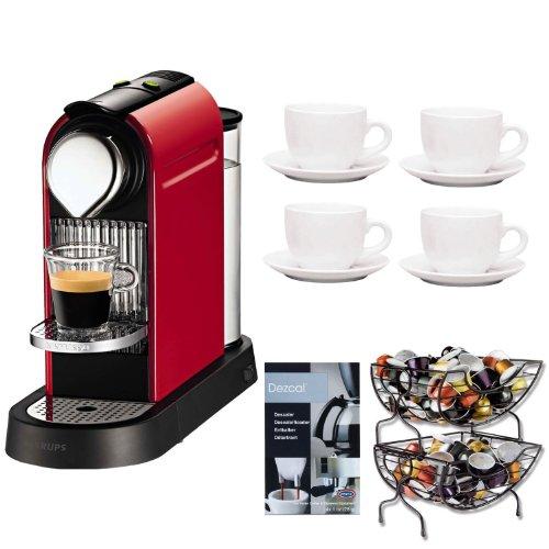 Coffee Consumers Nespresso Citiz C111 Fire Engine Red + Set of 6 Espresso Cups & Saucers Tri ...