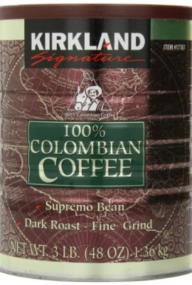 Signature-100-Colombian-Coffee-Supermo-Bean-Drak-Roast-Fine-Grind-3-Pound-0