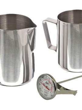 Stainless-Steel-Frothing-Pitcher-Pitchers-Thermometer-Set-Sizes-12-Ounce-20-Ounce-0