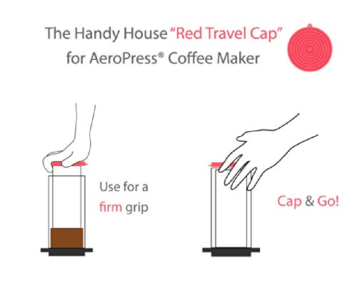 Coffee Consumers The Handy House Travel Cap for AeroPress Coffee Maker, Red