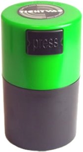 Tightvac-Vitavac-Pocketvac-Vacuum-Sealed-Pill-Box-Vitamin-Container-12-Ounce-06-Liter-Black-BodyGreen-Cap-0