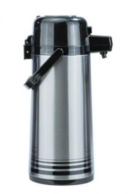 Update-International-PSVL-30-BKSF-Brushed-Stainless-Steel-Body-Airpot-with-Push-Button-Top-3-Liter-0