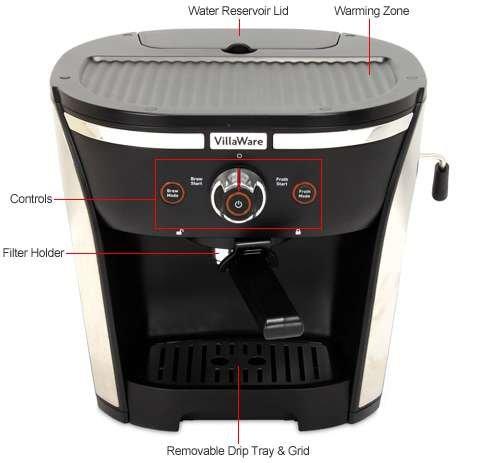 Coffee Maker Pump Pressure : Coffee Consumers VillaWare 15 Bar Pressure Pump Espresso Maker