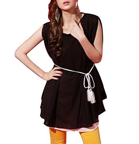 Womens-Plain-Lady-Chiffon-Tops-Blouse-Vest-T-Shirt-Mini-Dress-0-0