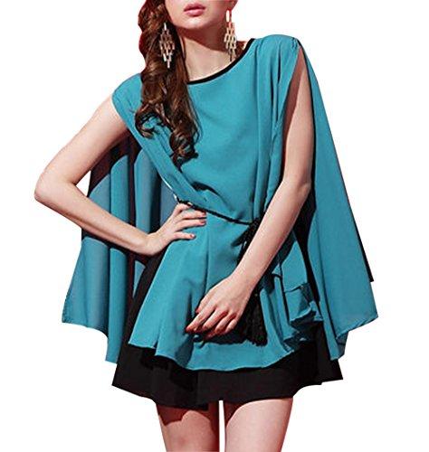 Womens-Plain-Lady-Chiffon-Tops-Blouse-Vest-T-Shirt-Mini-Dress-0